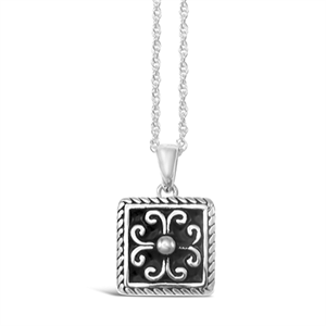 Stones & Silver square-shaped black enamel necklace