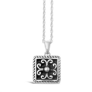 Stones & Silver square-shaped black enamel necklace