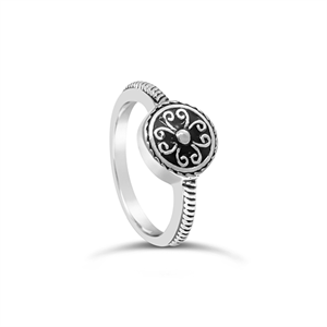 Stones & Silver round-shaped black enamel ring