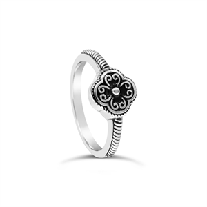 Stones & Silver flower-shaped black enamel ring