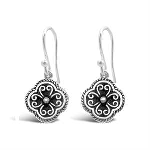 Stones & Silver flower-shaped black enamel earrings