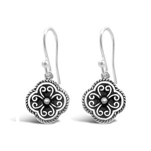 Stones & Silver flower-shaped black enamel earrings