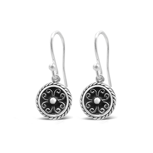 Stones & Silver round-shaped black enamel earrings