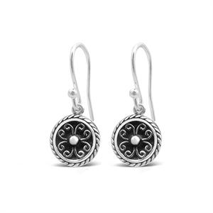Stones & Silver round-shaped black enamel earrings