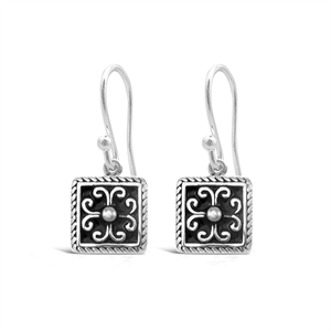 Stones & Silver square-shaped black enamel earrings