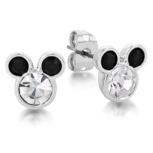 Couture Kingdom Disney Mickey Mouse 14k white gold plated stud earrings