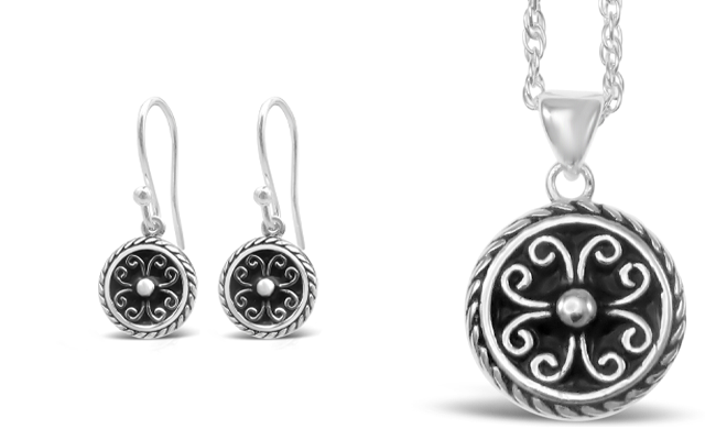 Stones & Silver black enamel jewellery collection