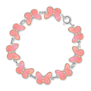 Pia & Per sterling silver pink round butterfly bracelet