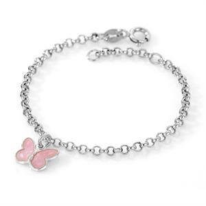 Pia & Per sterling silver single pink butterfly bracelet