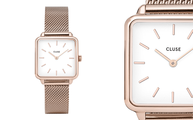 Cluse La Garconne square rose gold watch