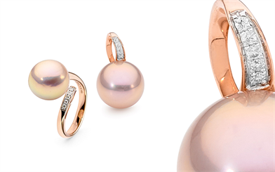Ikecho Pearls 9-carat rose gold pink Edison freshwater pearl earrings