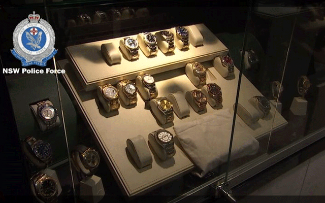 Police seized many luxury watches in the raid of a Bondi Junction jewellery store