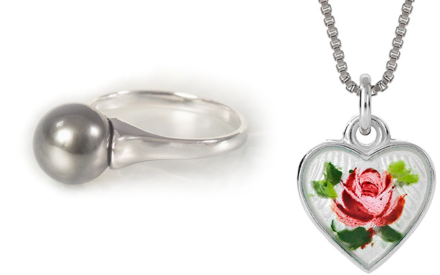 Tahitian Pearls silver ring and heart necklace
