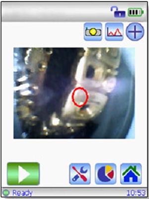 The GoldXpert Countertop XRF camera view