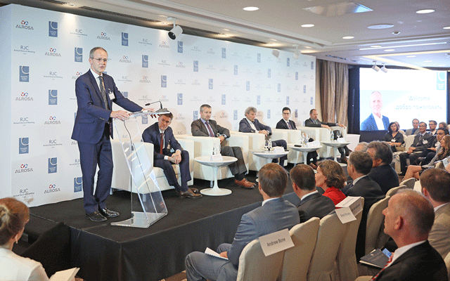 Andrew Bone moderated panels at the RJC's annual general meeting in Moscow, Russia earlier this year