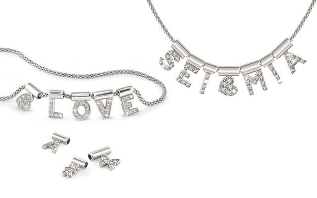 Nomination's rhodium-plated sterling silver customisable necklace