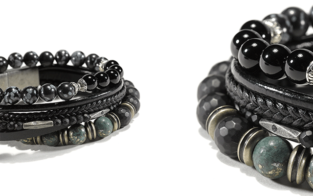 Cudworth's black leather multi-strand bracelet