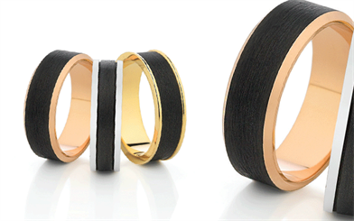 Dora's carbon fibre men's wedding rings