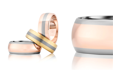Peter W Beck's titanium two-toned men's rings
