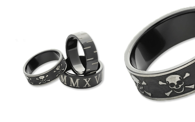 Worth & Douglas' engraved black zirconium rings