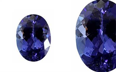 K & K Export Import's bright blue tanzanite with violet undertones