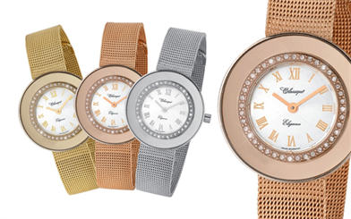 Classique's gold-plated stainless steel Swiss quartz mesh band fashion watch
