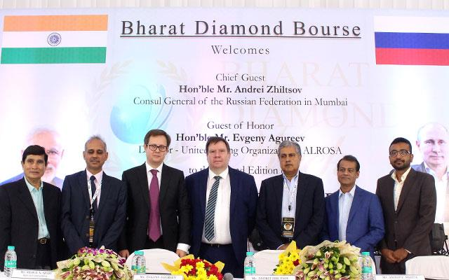 L to R: Mr. Mahendra Gandhi (President – MDMA), Mr. Mehul Shah (Vice president BDB), Mr. Evgeny Agureev (Director of ALROSA's United Selling Organisation), Mr. Andrei Zhiltsov  (Russian Consul-General), Mr. Anoop Mehta (President BDB),Mr. Colin Shah (Vice-Chairman GJEPC) & Mr. Jay Parikh (Convener