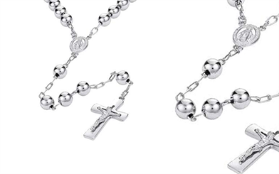 TJD Silver's rhodium plated religious necklace