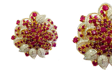 Shwe Se Gems & Jewellery's cluster-style earrings with Burmese natural rubies