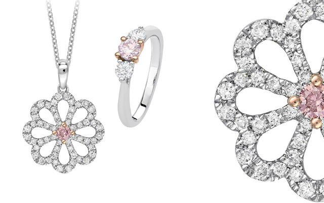 Pink Kimberley's pink diamond engagement ring and pendant with floral designs