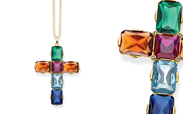 Thomas Sabo's handcrafted extra extra-large cross pendant with colourful stones