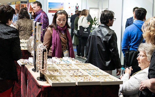 Pearls and colour gems were a big hit at the show.