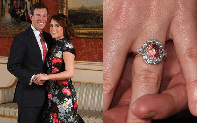 Princess Eugenie designed her ring with now-husband Jack Brooksbank. It features a Padparadscha sapphire in a halo of white diamonds. Valued at £110,000 ($AU198,000).