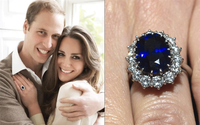 Catherine, Duchess of Cambridge – previously known as Kate Middleton – wears Princess Diana's blue sapphire and white diamond engagement ring. Valued at £300,000 ($545,000).