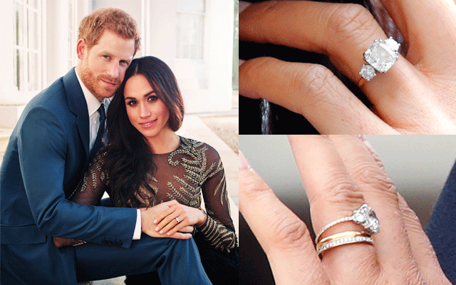 (Above) Prince Harry designed this white diamond trilogy ring for then-fiancée Meghan Markle.  (Below) Meghan Markle upgraded her engagement ring to include a micro pavé-set diamond band. Valued at £250,000 ($AU450,000).