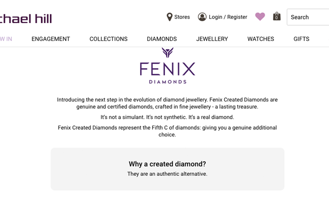 Before <i>Jeweller's</i> contact the website stated that Fenix lab-created diamonds are not synthetic