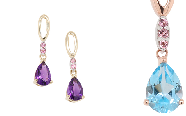 Worth & Douglas' new earrings and pendants featuring colour gemstones.