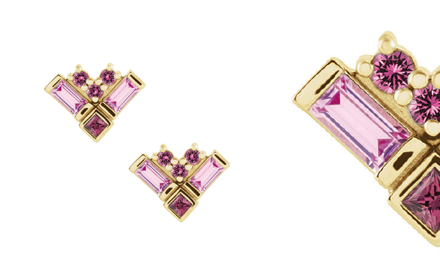 Pink sapphire, rhodolite garnet and pink tourmaline combine in these stunning earrings from Stuller.