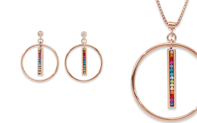 Coeur de Lion's rose-gold plated drop circle necklace and earring set, with multi-colour crystals.