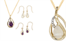Worth & Douglas 9-carat gold earring and pendant sets, with opal and diamond or amethyst and diamond.
