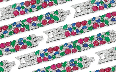 This Cartier bracelet, circa 1930, features the distinctive Tutti Frutti carved emeralds, rubies and sapphires, alongside single-cut diamonds. |  Image: Mike Stillwell, <i>Town & Country</i>