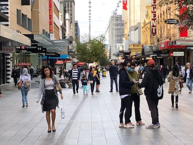 Image submitted to <i>Jeweller</i> on 6 May, shows that shoppers have begun to return to retail precincts such as Adelaide's Rundle Mall (pictured), as lockdowns are eased across the country.