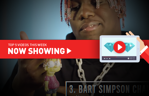 Now Showing: Rapper shows off diamond-encrusted Bart Simpson; creating a hyper-realistic gem drawing; and setting a $62,000 yellow diamond