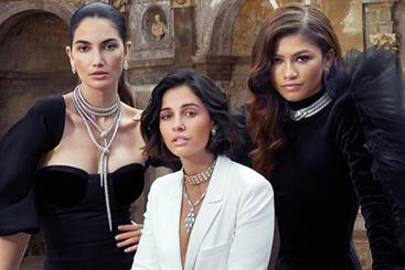 Bulgari's Mai Troppo campaign 2020, featuring spokeswomen Lily Aldridge, Naomi Scott, and Zendaya