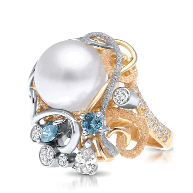 'Harmony Pearl' ring by Paul Amey. Image credit: 2017 Cygnet Bay Australian Pearl Jewellery Competition