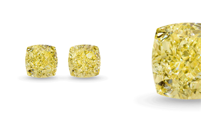 Pair of Fancy Intense Yellow cushion-cut diamond from Kunming Diamonds.