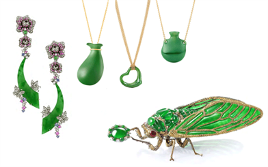 L to R: Yewn High Jewellery earrings | Tiffany & Co. pendants | Wallace Chan brooch