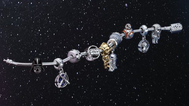 The new Pandora x Star Wars range includes limited-edition charms and a bracelet themed around the beloved sci-fi fantasy films.