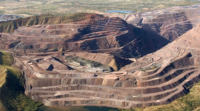 An aerial view of the Argyle Mine – the world's premier source of pink diamonds – which ceased production on 3 November after 37 years of operation.