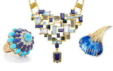 L to R: Fred Leighton ring, Chow Tai Fook necklace, Andrew Grima brooch | Below: Boucheron bracelet, Arman Sarkisyan ring